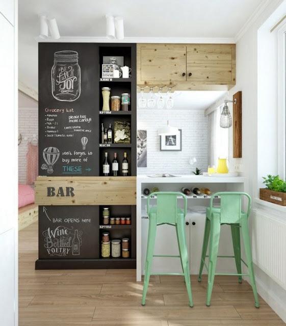 Wine Store Shelf Bar Counter Minzgruene Stools Of Chalkboard Color Kitchen