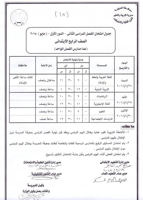 """جدول امتحانات الصف الرابع الأبتدائي 2018 محافظة المنوفية الترم الثاني """" آخر العام """""""