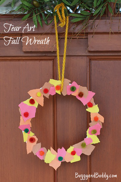 Scrap Paper Autumn Wreath