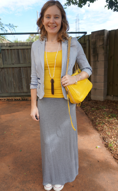 Away From Blue yellow tank grey jersey maxi skirt converse blazer RM Swing bag
