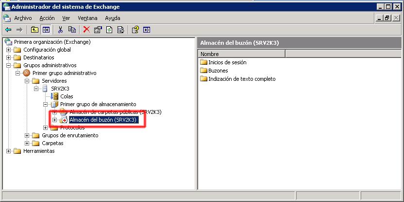 Microsoft Exchange 2003 Montar almacén