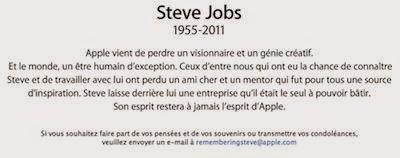 Texte d'hommage d'Apple à son fondateur