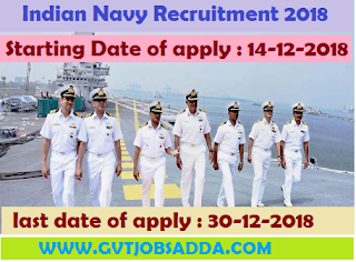 INDIAN NAVY RECRUITMENT 2018 APPLY ONLINE