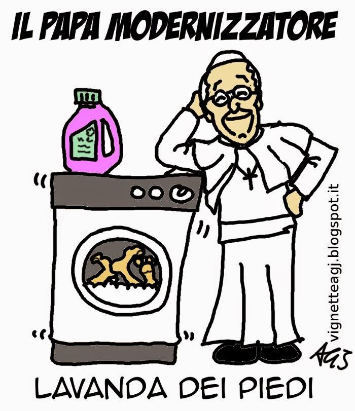 papa francesco, pasqua, lavanda dei piedi, satira, vignetta