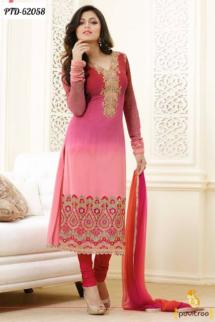 Madhubala Drashti Dhami pink color chiffon designer churidar straight dresses online collection with discount sale
