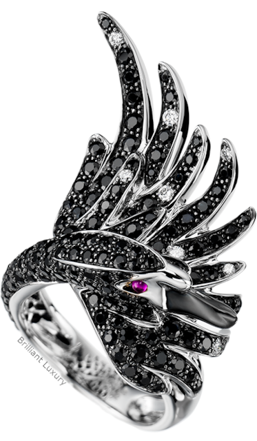 Brilliant Luxury♦Boucheron Paris Cypris black sapphire ring