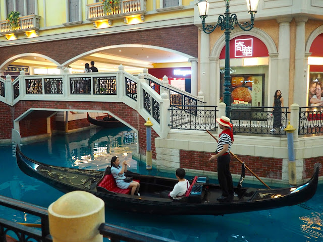 Gondolier singing on the Grand Canal Shoppes in The Venetian, Macau