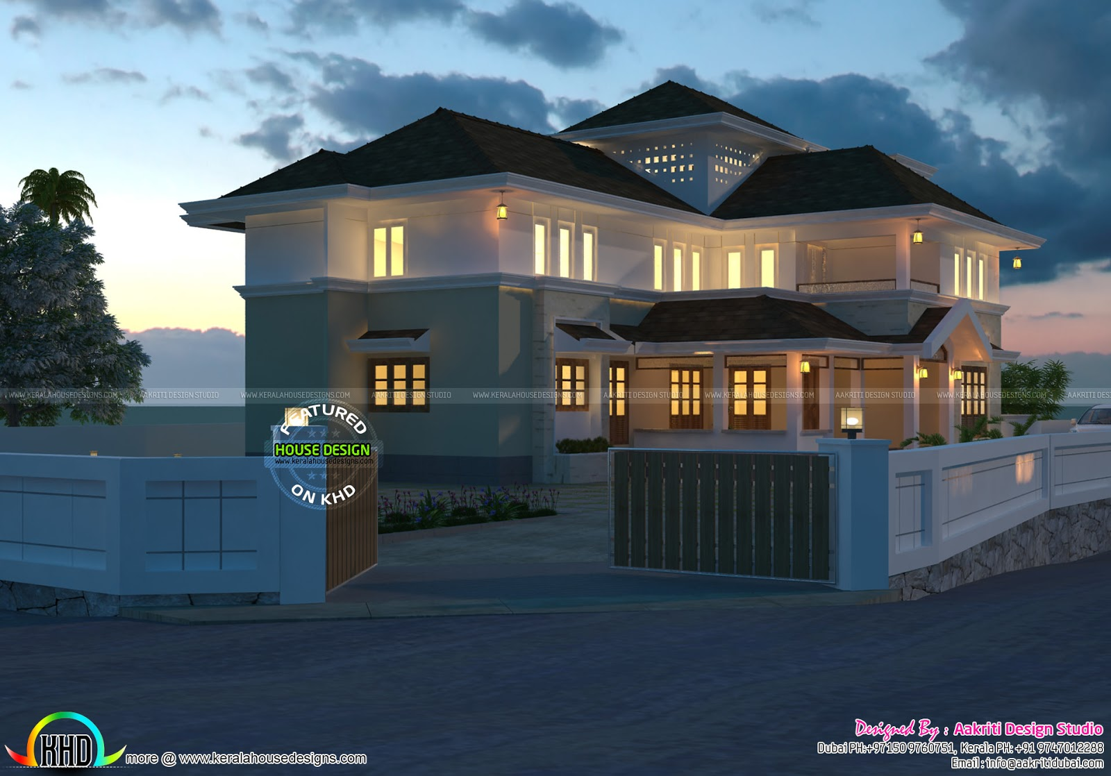Traditional style luxury villa 4000 sq ft kerala home for 4000 sq ft modular homes