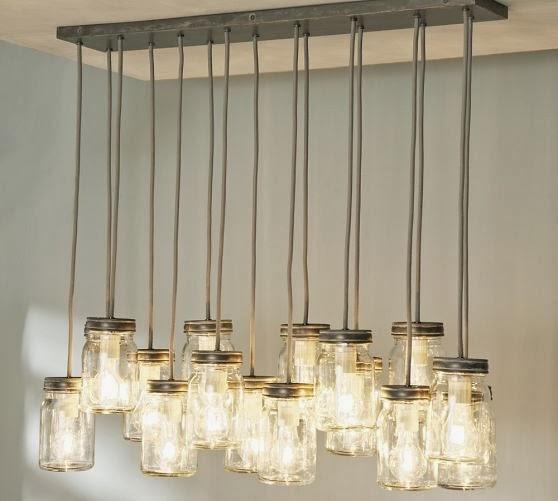 exposed bulbs, accent piece, lamp, chandelier, lighting, living room, design, decor, mason jar