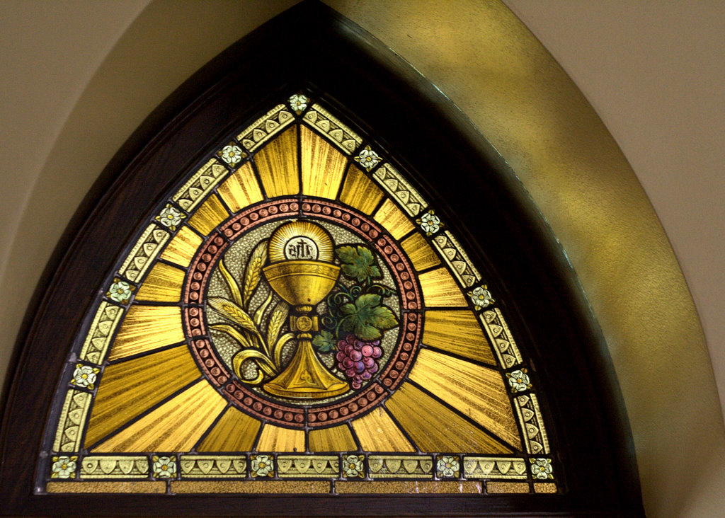 Cross Tipped Churches Eucharist Stained Glass