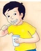 Dibujo de un niño cepillándose los dientes con vaso con agua