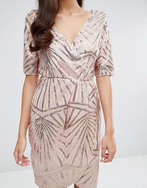 Club L Kimono Glitter Wrap Dress