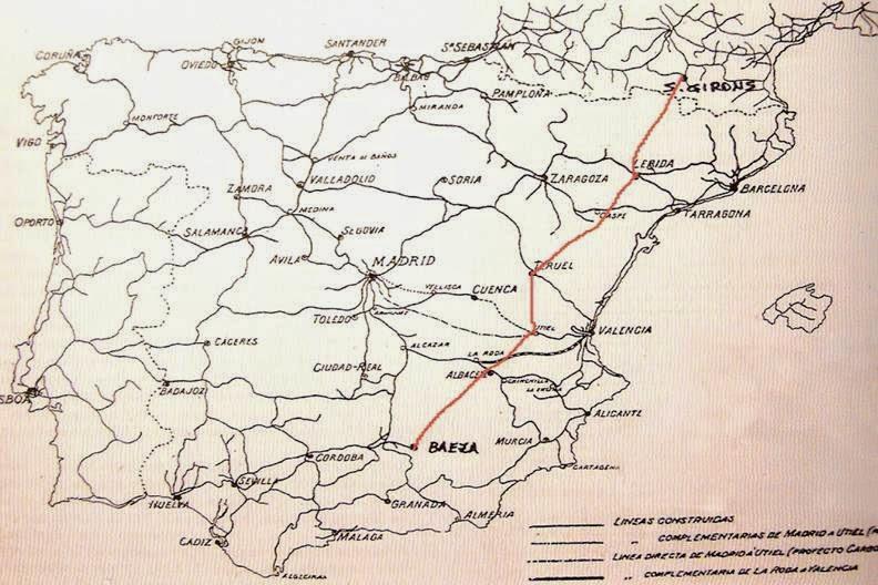 Mapa de la línea Baeza- St Girons