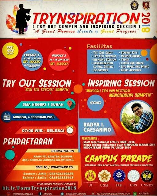 "Event Batang | 4/02/18 | IMADIBA Proudly Present ""TRYNSPIRATION"""
