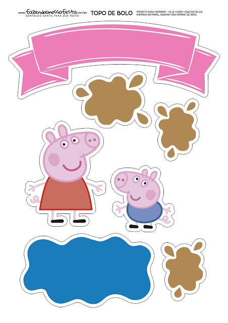 George and peppa pig free printable cake toppers oh my for Peppa pig cake template free