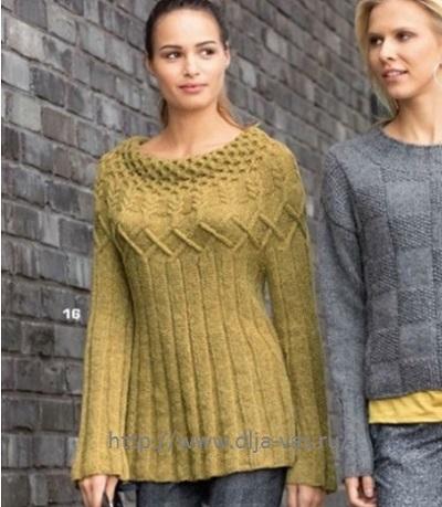 Вязание женского пуловера спицами.