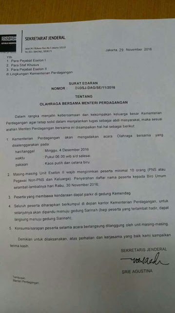 Beredar Surat Pengerahan Massa Untuk Melakukan Aksi 4 Desember Kepada Para Kader Parpol Dan PNS
