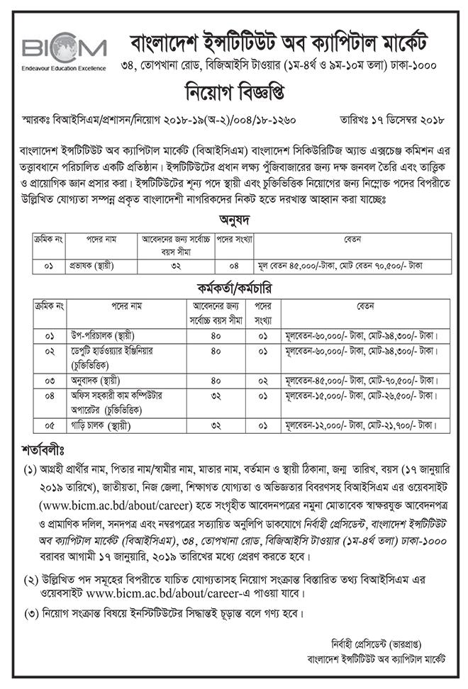 Bangladesh Institute of Capital Market (BICM) Job Circular 2018