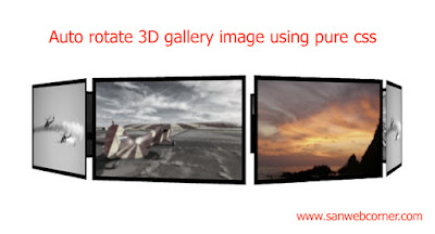 Auto 3d rotate gallery image using pure css