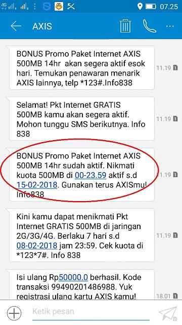 Kuota Paket Internet Axis Gratis