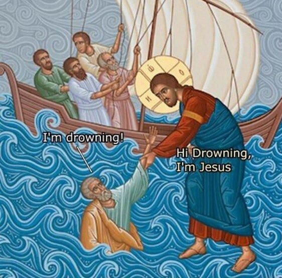 I'm drowning! Hi Drowning, I'm Jesus | Funny religious painting meme