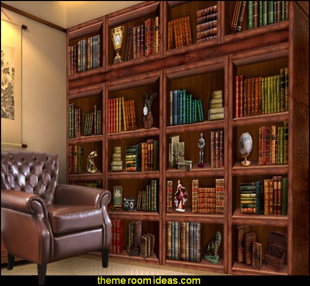 Bookcase Books Murals Library Living Room Wallpaper   book themed decor - Bibliophiles decor - Book themed furnishings - home decor for book lovers - book themed bedroom - Stacked Books decor - Stacked Books furniture - bookworm decor - book boxes - library furniture - formal study furniture - antique book decor - unique furniture - novelty furniture