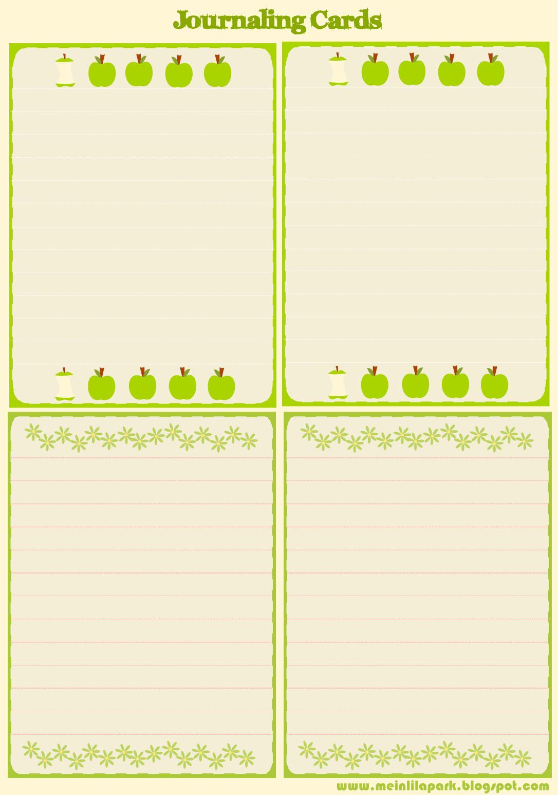 free printable apple and flower journaling cards and stationery