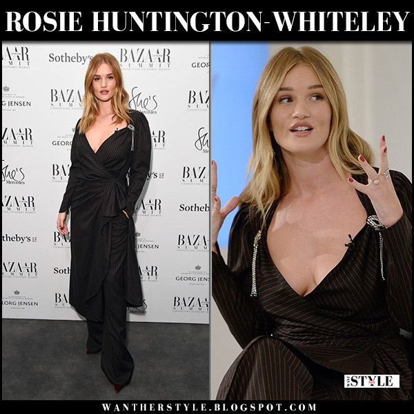 Rosie Huntington-Whiteley in black pinstriped wrap dress and black pants attico model style inspiration november 16 2017