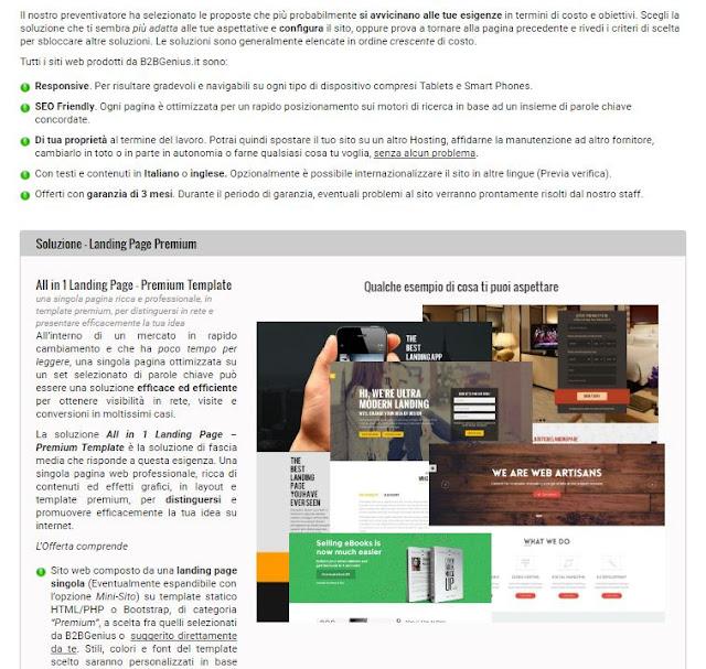 Preventivo di creazione siti professionali di B2BGenius