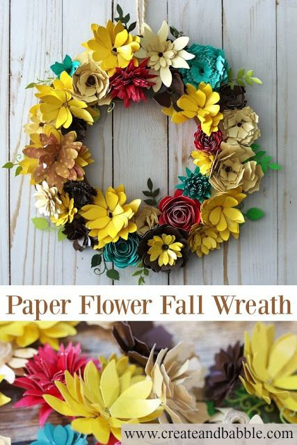paper flower fall wreath