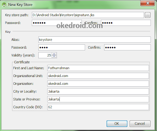New Key Store ,Belajar Cara Membuat file Apk di Android Studio
