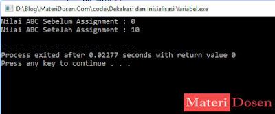 Contoh Program Deklarasi dan Inisialisasi Variabel C++