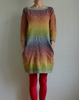 Dress Knitting Pattern done in a rainbow of colorwork.