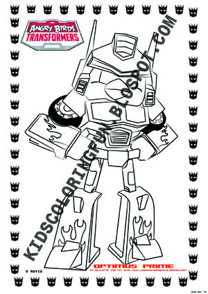ANGRY BIRDS TRANSFORMER OPTIMUS PRIME COLORING PAGES