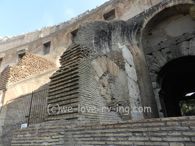 The ruins show the walls inside and the brickwork