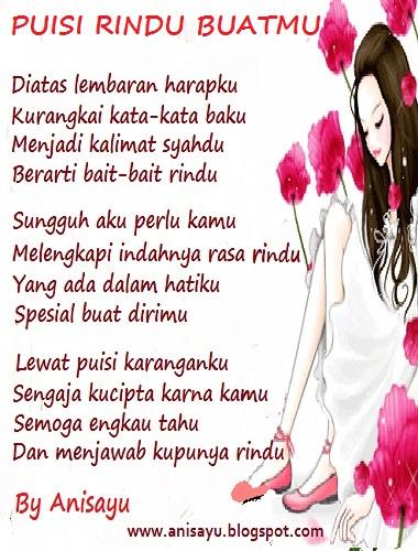 PUISI CINTA BY ANISAYU: Puisi Rindu Romantis Terbaru