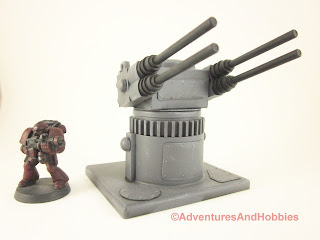25 to 30mm scale war game scenery weapons gun turret with quad barrel cannons - view 2.