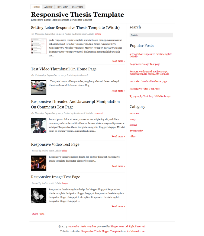 Thesis Responsive Blogger Template