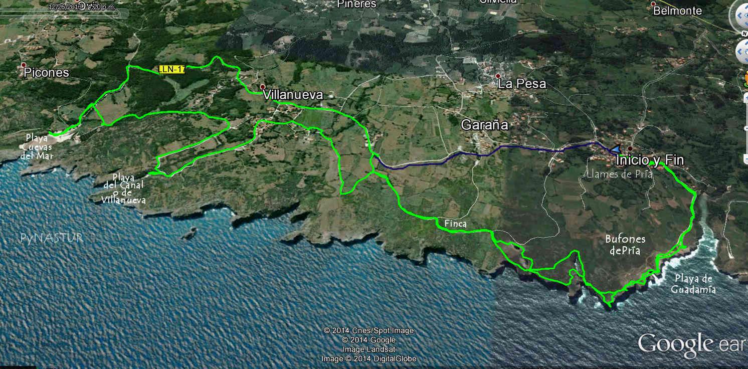 Mapa 1 - Senda Costera Bufones de Pría - Playa Cuevas del Mar - Llanes