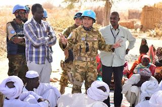 Satgas Yon Komposit TNI Konga XXXV-D/UNAMID Laksanakan Patroli dan Silaturahmi di Kampung Sharib Sudan