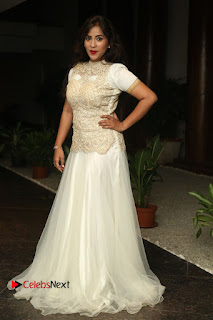 Actress Komali Stills in White Long Dress at Nenu Seethadevi Audio Launch 0193