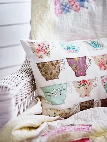 cute teacup pattern pillow