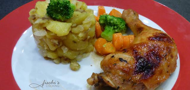 fischiscooking, glacierte hühnerkeulen, hendlhaxn, erdäpfelschmarrn