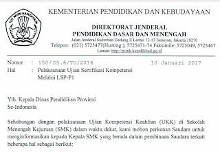 Surat Dirjen tentang Pelaksanaan Ujian Sertifikasi Kompetensi Melalui LSP-P1