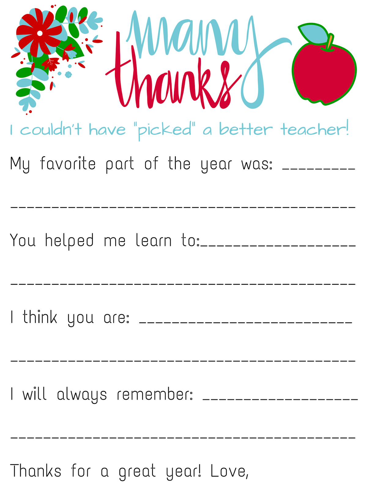 Savvy Spending Free Teacher Appreciation Personalized Card