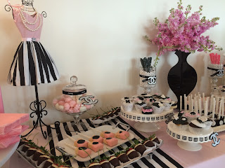 Coco Chanel bridal shower sweet table ideas
