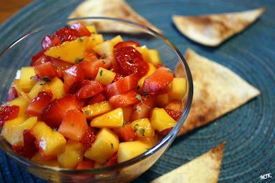 Strawberry Mango Salsa with Cinnamon Sugar Tortilla Chips
