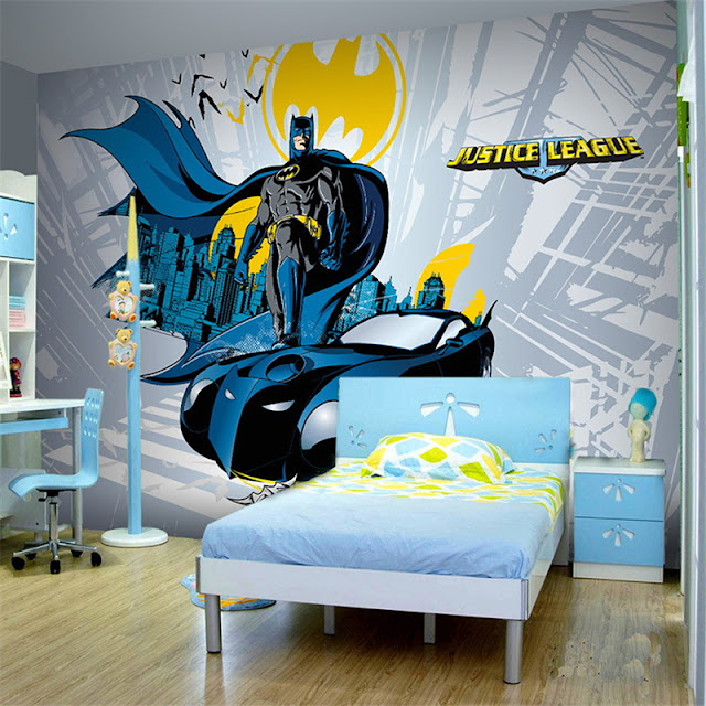 batman wall murals bedroom 3d Hero wallpaper mural childrens room comics Photo Wallpaper Kids Boys cartoon