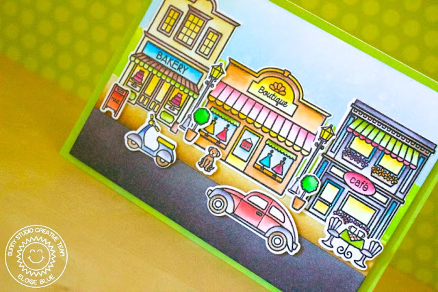 Sunny Studio Stamps: City Streets Fun Street Scene Card by Eloise Blue.
