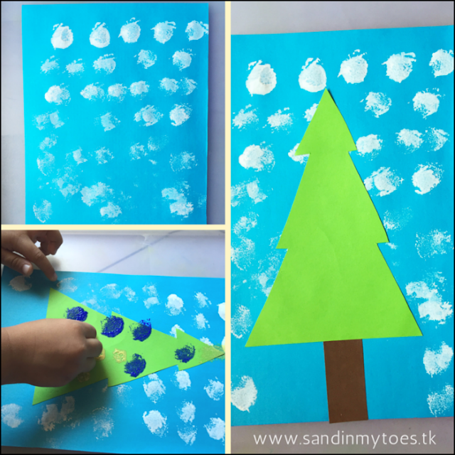 Simple Christmas art and craft project idea for kids - pom pom painted Christmas Tree!